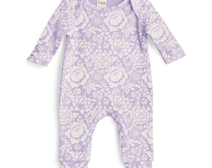 Baby Girl Romper Lavender Purple, Baby Girl Purple Bodysuit, Infant Girl Onesie, Newborn Baby Girl Floral Romper Tesababe