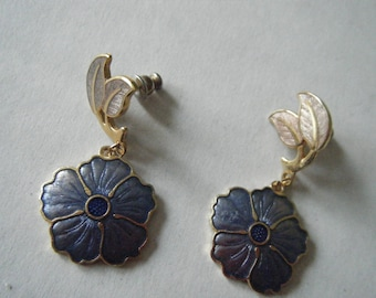 Cloisonne  Hibiscus Floral Earrings //Vintage Signed jewelry FISH