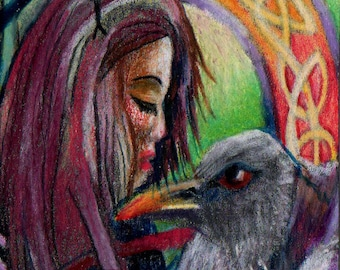 original art aceo card drawing Raven celtic girl