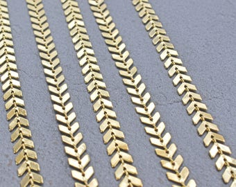 Chain, CD-08G, 1m, Arrow chain, Fishbone chain, 16K gold plated brass, Good for bracelet and anklet, High quality of gold plating