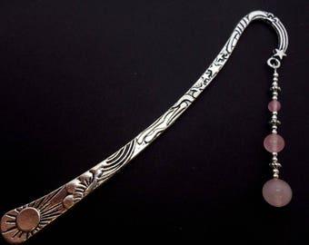 A hand made tibetan silver & pink jade beads  bookmark. New.