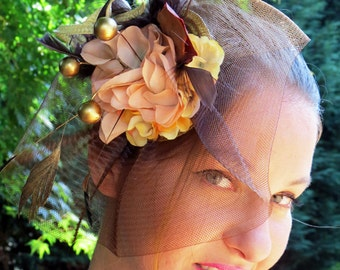 Fascinator, fascinator hat, wedding hat, flower fascinator CHOCOLATE TREE