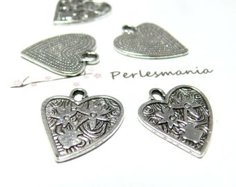 4 charms 2B 5375 connector flower heart goes