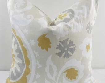 Beige & yellow macon pillow cover. Suzani river rock  Print. Throw pillow cover. Cotton.Sham Pillow case. Select your size.