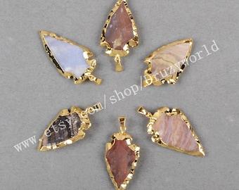 1Pcs Pretty Gold Plated Natural Jasper Arrowhead Pendant Bead Natural Colors Gemstone Arrow Pendant Raw Stones Jasper Making Jewelry G0507
