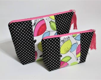 Handmade makeup bag - cosmetic bag -  Floral - black and small white dots - toiletry holder - ready to ship - Personalized gift idea for her