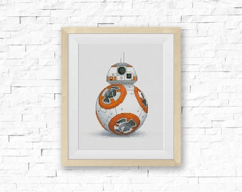 BOGO FREE! BB-8, Star Wars Cross Stitch Pattern, Droid Counted Cross Stitch, StarWars Home Wall Modern Decor pdf Instant Download #002-19-2