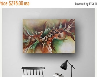 Spring Sale Abstract Painting, Large Original Painting on Canvas, Green & Brown, Professional Painting, Unique Canvas Art, Fluid Painting 36
