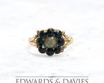 Victorian Mourning Hair Ring | Mourning Ring | Onyx Flower Ring | Yellow Gold Ring | Antique Jewelry | Antique Jewellery | Vintage Ring