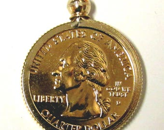 Coin Bezel Jewelry Findings Pendant Charm Coin Holder - Coin  Bezel - 24k Gold PLATED   U.S. Quarters