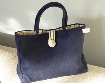 Hand sewn handle bag Loden dark blue cotton fabric striped inner pocket by hand with fabric-related button
