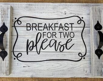 Breakfast for Two Wooden Breakfast Tray