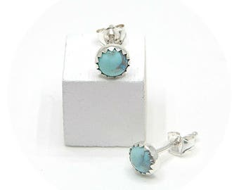 Howlite Turquoise Earrings in Silver 5mm Round Gemstone Studs