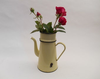 Vintage French Enamel  Coffee Pot with no lid
