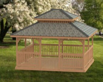 Garden Gazebo Building Plans I Double Hip Roof - 14 x 16