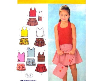 Girls Halter Top, Tiered Skirt, Shorts, Bag Pattern Simplicity 4611 Girls Sewing Pattern Size 3 to 6 or 5 to 8 UNCUT