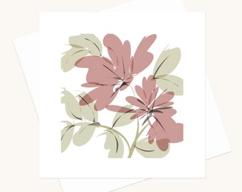 Floral Greeting Card Perfect for Birthdays Weddings Anniversaries Thank Yous or for any Occasion Blank Inside Free Shipping