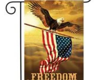 Freedom Patriotic Garden Flag Bald Eagle USA