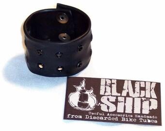 Snap Bracelets made with Bike Tube 'Vegan Leather' unisex punk metal cuff style