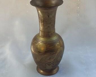Vintage Etched Brass Vase Decorative