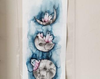 Original Moon Phases + Crystals Watercolor   Original Painting   Watercolor Moon Crystals Illustration   Moon Art