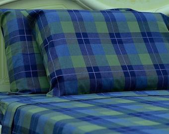 Goza Cotton 190 Gram Heavyweight Flannel Sheet Set Queen - Blue Plaid