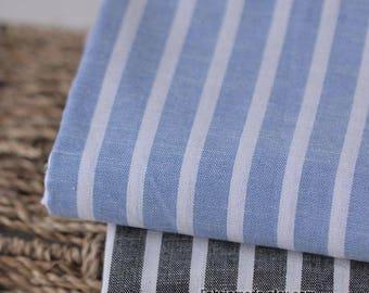Yarn Dye Stripes Cotton Fabric, Black Blue & White Stripes Cotton Fabric - 1/2 yard