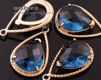 2pcs-20mmX13mGold Faceted NEW Style Tear Drop With Glass pendants-Montana(M333G-D)
