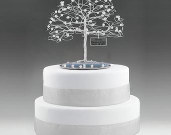 "Personalized Wedding Any Anniversary Cake Topper Tree Custom Swarovski Crystal Elements Silver Copper Gold Anniversary 7"" w 5"" Mirror Base"