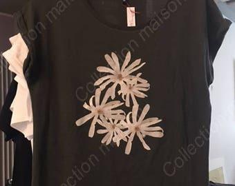 T-shirt woman shirt sleeves khaki, flowers stellatas