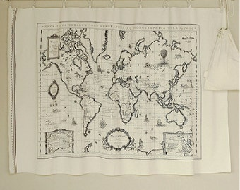 World map fabric etsy vintage world map cotton linen fabricmap of the world fabriccurtain fabric gumiabroncs Choice Image