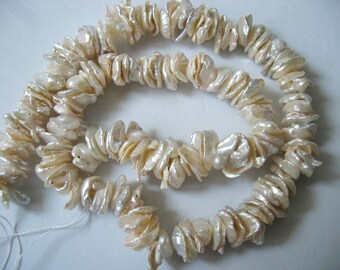 Center Drilled White Keishi Cornflake Freshwater Pearls - 15 Inch Strand