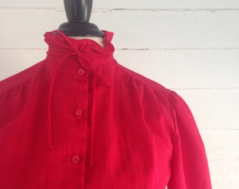 Vintage 1980s Red Blouse w RUFFLE Neck, Spaghetti-Strap Bow, and Iridescent Stripes