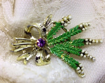 Scottish heather spray amethyst brooch