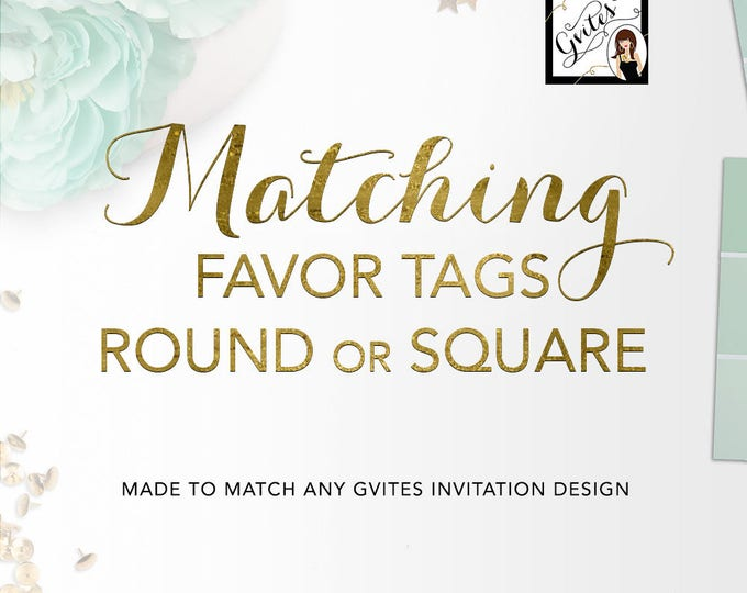 Matching Labels Add-on - To coordinate with any Gvites invitation design. Tags, stickers, cupcake toppers, rings 2x2 or 2.25x2.5