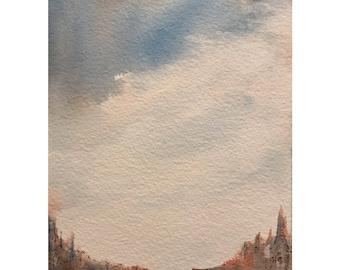 Original Watercolor Painting Watercolor Sketch Landscape Painting