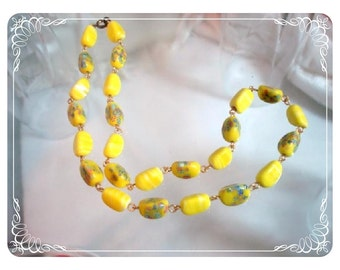 Yellow Art Glass Bead Necklace - Reuse Recycle ReNew  Neck- 1339a-012312000