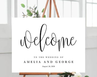 3 Sizes Modern Wedding Welcome Sign Poster - Editable PDF Template Instant Download - Lovely Calligraphy #LCC