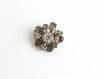 Rhinestone Brooch, Rhinestone Pin, Gray Brooch, Gray Pin, Gray Rhinestone Brooch, Gray Rhinestone Pin, Silver Brooch, Silver Pin, Small Pin