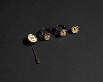 Ring, ring, brooch pin's typewriter, typewriter decor metal original gold