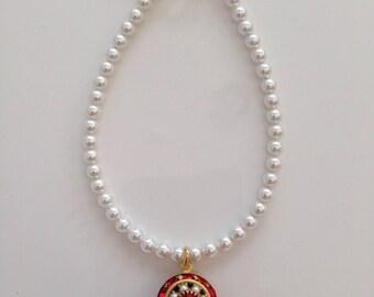Swarovski Ruby, Pearl, and Light Siam Charm Bracelet