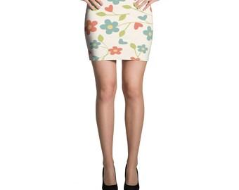 Flowers Mini Skirt Art Design
