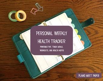 PRINTABLE Personal Weekly Health Tracker