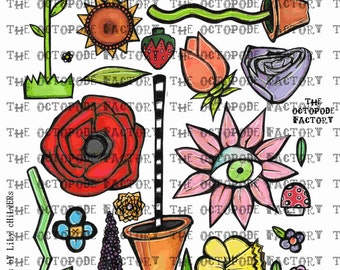 INSTANT DOWNLOAD Whimsical Flowers Digital Collage Sheet