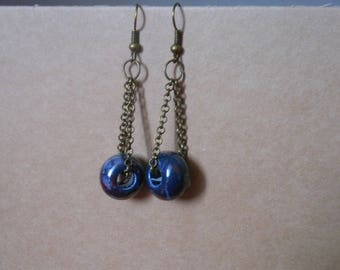 earring chain and Blue ceramic bead