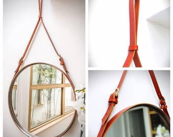 """NOBI TWO Strapped 32"""" LARGE Mirror Adnet Jamie Young Style Captain's Mirror Hanging Bddw Gobi Round leather hanging bathroom entry mirror"""