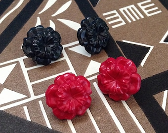 Hawaiian Hibiscus Post Earrings - Hand Cast Resin - Pin Up Rockabilly Kitsch Novelty Retro - Your Color Choice