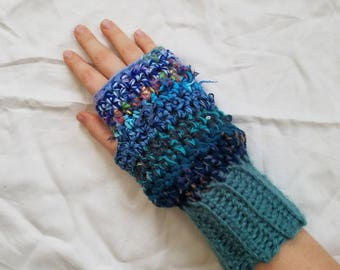 Blue Crochet Fingerless Gloves, Blue Gloves, Women's Fingerless Gloves, Women's Gloves, Fingerless Gloves, Handmade Fingerless Gloves, Glove