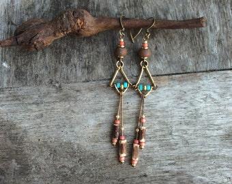 Women earrings,Boho earrings,Tribal earrings,Hippy earrings,Bohemina earrings,Peach brown Turquoise earrings,Earthy earrings,Gypsy earrings