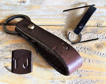 Personalized with initials, black or brown leather belt keychain